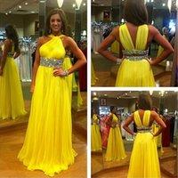al por mayor vestido de fiesta imperio amarillo-Brillante Empire Enjoyada cintura amarillas plisadas gasa vestidos de baile 2016 con moldeado del recorte del V Open Volver