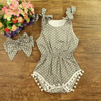 baby bunny outfit - 2016 baby girl toddler piece set outfits lace tassels cotton polka dots romper onesie bloomers diaper covers bunny bowknot headband