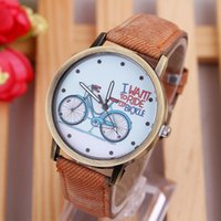 battery bicycle price - Students Vine Watch Denim Watchband Bicycle Pattern Dial Quartz Battery Analog Wristwatch Cheap Price High Quality