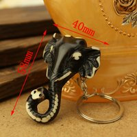 Wholesale 5pcs Yak Bone Key Chains Black Elephant Cool Man Pendant NEW key rings Jewelry Rare Totem Jewelry