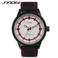 Wholesale Canvas Water Round - SINOBI 2016 Luxury Brand Military Watch Men Quartz Analog Clock Leather Canvas Strap Man Sports Watches Army Relogios Masculino