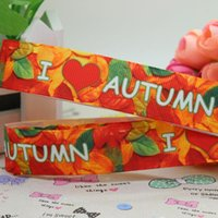 autumn yard decorations - 7 quot mm I Love Autumn Leaves Printed Grosgrain Ribbon DIY Hair Bow Craft Party Festival Decorations Yards A2