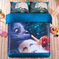 Wholesale Coral Fleece Thick Bedding Sets D Reactive Printing blue Totoro and girl Beds Bed Sheet Set Duvet Cover PC Beddings Set