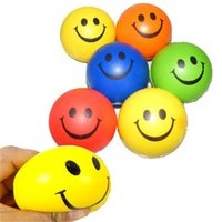 Wholesale Smile Face Print Sponge Foam Ball Squeeze Stress Ball Relief Yoga Gym Fitness Toy Hand Wrist Exercise PU Rubber Toy Balls