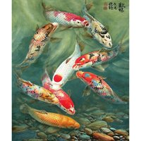 antique fishing pictures - HWB Diamond Painting D Fish Picture Diamond Cross Stitch Crystal Round Diamond Sets Fish Swim Freely In Pond X60cm