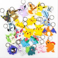 Wholesale Pocket Monster keychain Poke Silicone Pendant Pikachu Poke Ball Keychain Double Sided Design Key Chain Kids Gifts Styles