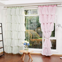 Wholesale Custom Made Princess Beauty Korean Style Shade Curtain for Girl s Bedroom Cake Pattern Lace Sheer Tulle Curtain Living Room Window Wedding