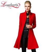 Cheap 2016 Fashion Women Trench Woolen Coat Winter Slim Long Mandarin Collar Overcoat New Spring Red Black Coats Long Wool Outerwear