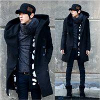 Wholesale Fall Autumn Winter Long Coat men casaco masculino jaqueta masculina Mens hooded Coat Wool Warm Snow xxxl overcoat manteau homme