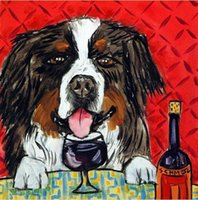 One Panel bernese mountain dogs - bernese mountain at the wine bar dog art tile coaster Pure Hand Painted folk Pop Art Oil Painting Canvas any customized size accepted sch