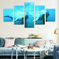 Wholesale 2016 new arrival Five panels of dolphin Painting beautiful sea Canvas wall Paintings for sofa background Decor unframed