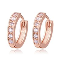Wholesale Earrings For Women Fashion High Quality AAA Zircon K Gold Plated Hoop Huggie Earrings Jewelry Drop Shipping TER004