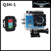 Wholesale Q3H K Ultra HD WIFI camera M waterproof inch LCD display G fish eye wide angle lens remote control flash light outdoor sport D