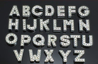 Wholesale DHL mm A Z Full Rhinestone slide letters Fit Pet Collar Wristband