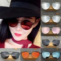 al por mayor vidrios del marco de metal hombres-Publicaciones Nuevas Lentes de gafas de sol de espejo de metal plano de los hombres de las mujeres de gran tamaño de la manera del ojo del gato de los vidrios de Sun GC50 envío gratuito