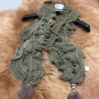 Wholesale 2 Colors Quality Knitting Scarf Shawl with Hairball Pendant Women Ladies Winter Warm Long Scarves Wraps Clothing Accessory