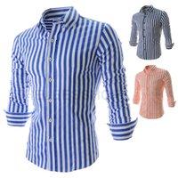 Wholesale Men Vertical Striped Casual Orange red Shirt Fashion Slim fit mens shirts Dress Shirts Men Clothing Turn down collar Plus Size