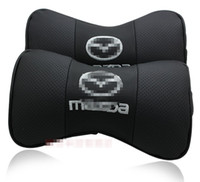Wholesale 2 X Genuine Leather Car Headrest Pillow Neck Rest Pillow Seat Cushion Covers for Mazda CX CX CX Mazda PREMACY Pillow