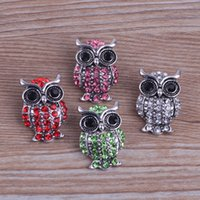 Wholesale Pack Of Pretty Snap Buttons Color Interchangeable Charm Rhinestone Owl Shape Fit DIY Pendant NOOSA Chunk K12E