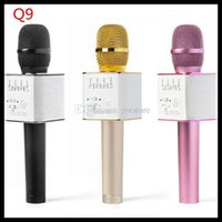 Wholesale 2016 NEW mini bluetooth speaker lapel microphone wireless microphone Q9 Q7 ith Mic Speaker KTV super bass portable speaker