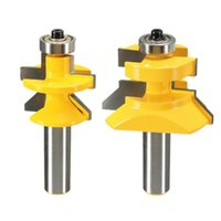 Wholesale 2pcs set inch X inch Router Bit Set Matched Tongue Groove V Notch degree Cutter Hand Tools Woodworking Drilling