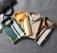 Wholesale four seasons new original quality classic brand Bu designer cotton Men s shirts big size m xxl