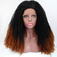 Cheap In stock black brown synthetic wigs for black women ombre lace front kinky curly wig heat resistant fiber synthetic wigs