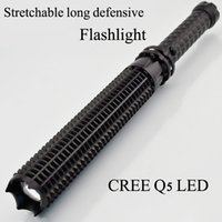 Wholesale 6500LM CREE Q5 LED Spiked Mace Baseball Bat Long Flashlight Self defense Torch Lamp Mode