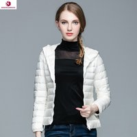 bag overcoat - 2016 Top Quality Brand Lady Short Winter Autumn Overcoat Women Brand White Duck Down Hooded Coat With Bag Jackets