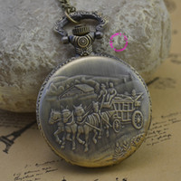 antique horse carriages - fashion quartz carriage horse woman pocket watch necklace classic vine antique Pendant groom fob watches
