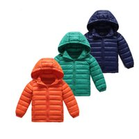Wholesale 3 Colors Winter Jacket child UltraLight Down Jackets hoody Collar Warm Coat Solid Parka and Jacket Top Quality Kids autumn