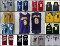 arrival los angeles - A High Quality new arrival Los Angeles high school Kobe Bryant retro blue black white jersey for mens