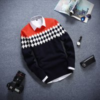 argyle sweaters for men - England Style Knitted Wool Sweater for Men Argyle Sweater Long Sleeve Fashion Round Neck Men Pullover Sweater de hombre