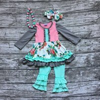 autumn necklace - baby girls outfits kids Fall winter pant sets ruffle outfits floral long sleeve party clothing with matching necklace and bow