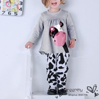 Wholesale New Arrival Spring Autumn Girls Clothing Sets Milk Cow Cotton Long Sleeve Shirt Pant Suits Casual Kids Clothes M Y