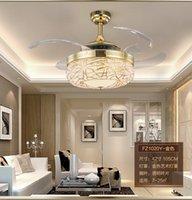 Wholesale LED stealth modern minimalist living room dining room bedroom fan chandlier fan lights remote control chandelier lamp fan inch