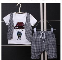 Wholesale 2016 summer new children grid tide peice suit False two piece