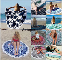 Wholesale Indian Mandala Tapestry Boho polyester Round Beach Throw Towels with Tassel Yoga Mat Wall art Hanging Large Shawls Throw Blanket BKT092