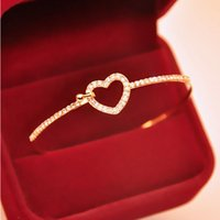Wholesale Alloy Gold Plated Charm Love Heart Crystal Cuff Bangle High Quality Beauty Bracelet Jewelry For Women