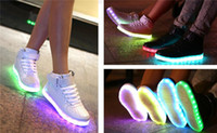 Wholesale NEW Colors LED luminous shoes unisex sneakers women sneakers USB charging light shoes colorful glowing leisure flat shoes High help shoes