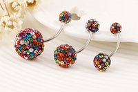 belly ring sizes - 3 Size Ball Colorful Crystal Navel Ring Stainless Steel Piercing Belly Button Ring Body Fashion Jewelry Summer Style Women
