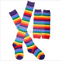 arm warmer fingerless long gloves - Women Rainbow Socks Long Gloves Rainbow Mittens Knee High Socks Rainbow Socks Arm Warmer Stripe Colorful Thight Stripey Stocking B459