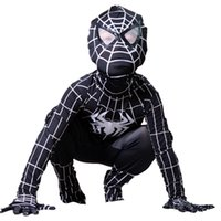 Wholesale Venom Black Spiderman Costume for kids Children Jumpsuit SuperHero Cosplay Spandex Zentai Full Bodysuit Halloween Party