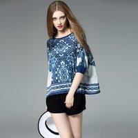 bat cap - 2016 new summer women shirts chinese wind high end silk stitching loose bat sleeve women Shirts