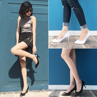 basic pump - Women cm High Heel New Pump Solid Leather Party Work Shoes Black White Color Work Stiletto Pointed Toe Spring Woman Basic Plain OL Shoe