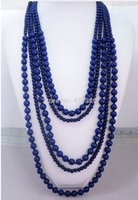 Wholesale New Navy Blue Five Layered Handmade Beaded Necklace Hot Sale Fashion Women Statement Layered Necklace
