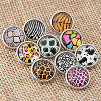 african black leopard - Mix style mm leopard flower Metal Snap Chunk Button High quality Charm Rhinestone Styles Button Ginger Snaps Jewelry diy making