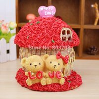 bank love - wedding gifts resin crafts bamboo thatched cottage with roses LOVE Cubs resin piggy bank