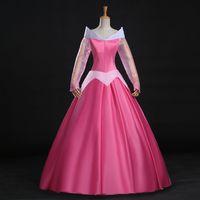 aurora costume - Cosrea Sleeping Beauty Princess Aurora Park Pink Satin Adult Cosplay Costume