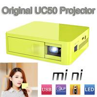 Wholesale 100 Original Unic UC50 DLP mini Pocket Projector Full HD P Home theater projecting camera LED video home Cinema Multimedia Video